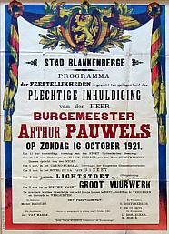 Affiche inhuld. A. Pauwels 1921